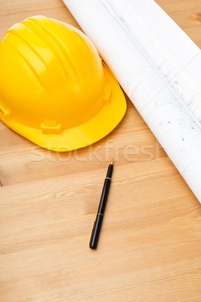 Inşaat mavi baskı kask Bina çalışmak Stok fotoğraf © leungchopan