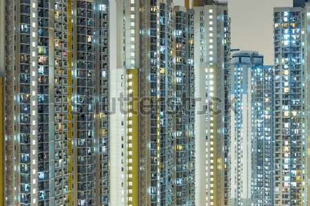 Public housing in Hong Kong at night Stock photo © leungchopan