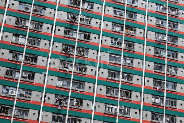 Hong Kong public carcasa acasă fundal fereastră Imagine de stoc © leungchopan