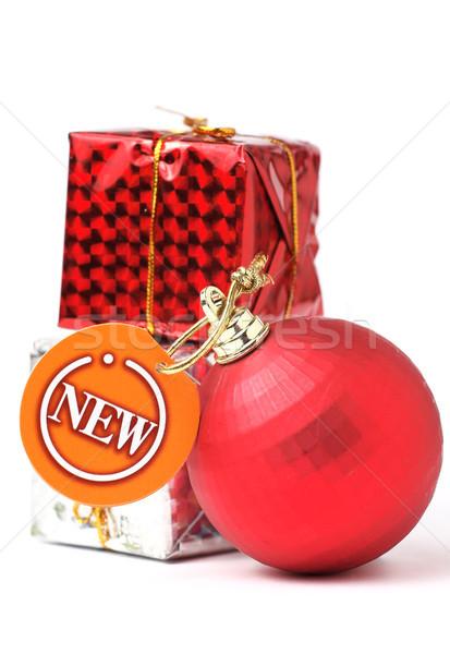 gift and christmas balls with new tag Stock photo © leungchopan