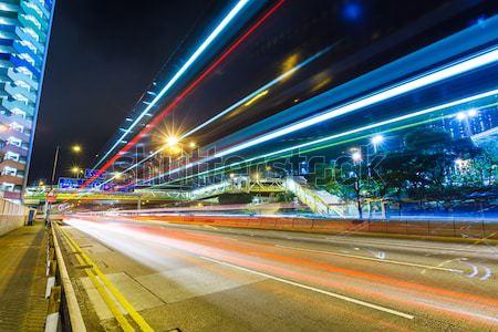 Traffico coda notte ufficio luce architettura Foto d'archivio © leungchopan