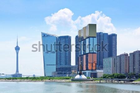 üzlet felhők épület város tájkép kék Stock fotó © leungchopan