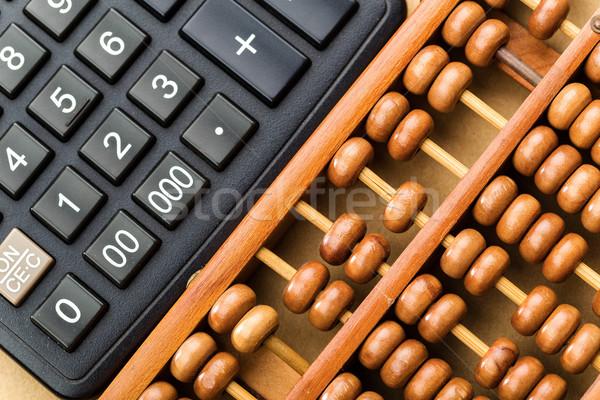Modern calculator and abacus  Stock photo © leungchopan