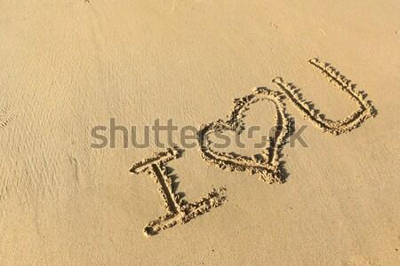 любви рисунок пляж текстуры природы морем Сток-фото © leungchopan
