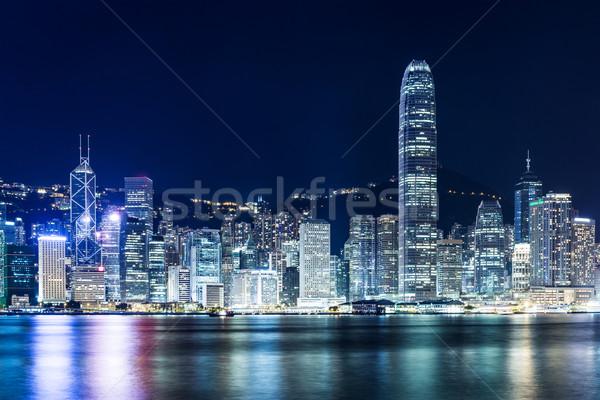 Hong Kong horizonte noche negocios edificio rascacielos Foto stock © leungchopan
