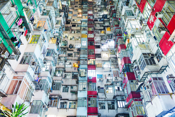 Overcrowded building in Hong Kong Stock photo © leungchopan