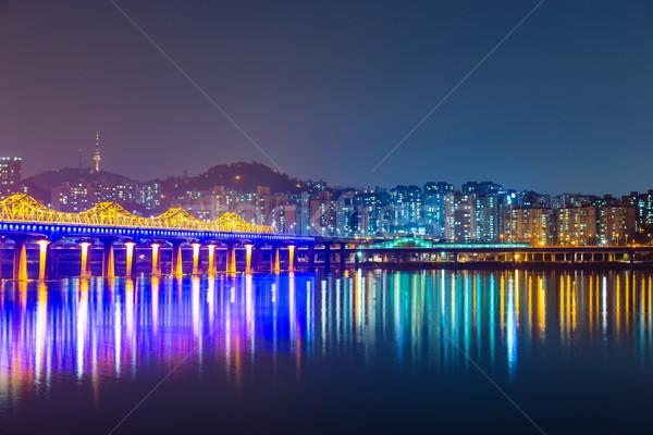 Han river in Seoul city at night Stock photo © leungchopan