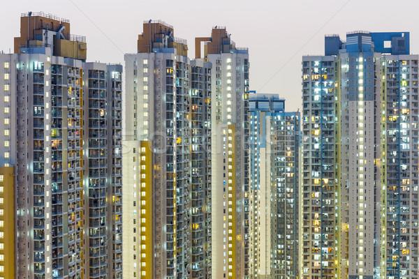 Lleno de gente edificio Hong Kong ciudad horizonte rascacielos Foto stock © leungchopan