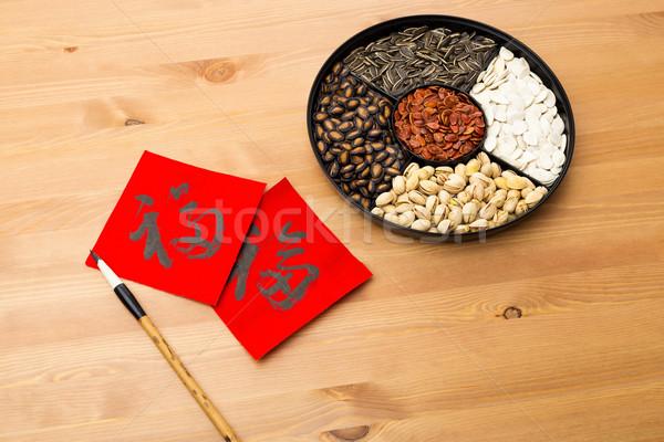 Ano novo chinês bandeja chinês caligrafia significado Foto stock © leungchopan