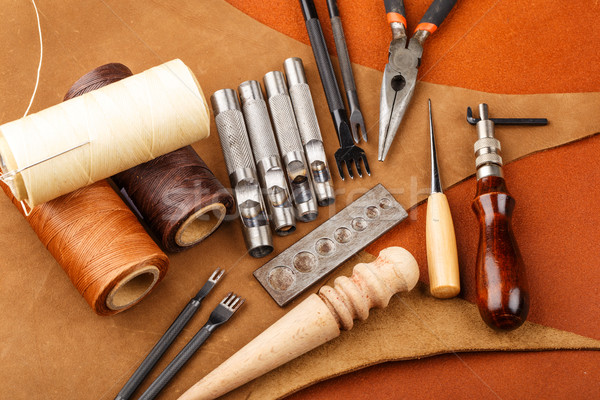 Homemade leather craft tool and accessories Stock photo © leungchopan