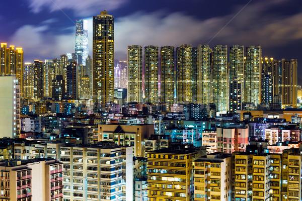 Alloggiamento Hong Kong notte costruzione home skyline Foto d'archivio © leungchopan