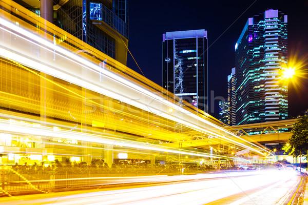 Meşgul trafik ışığı şehir Bina ışık finansal Stok fotoğraf © leungchopan