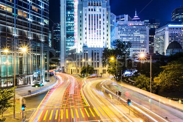 Stok fotoğraf: Trafik · iz · Hong · Kong · şehir · gece · iş · ofis