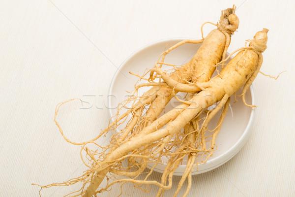 Fresco ginseng comida medicina branco Ásia Foto stock © leungchopan