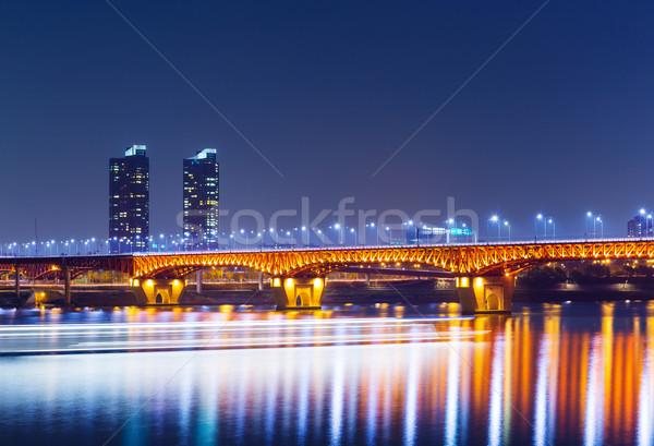 Foto stock: Seul · noite · da · cidade · água · edifício · pôr · do · sol · luz