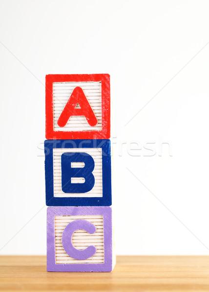 Brinquedo de madeira carta brinquedo aprendizagem jogo ler Foto stock © leungchopan