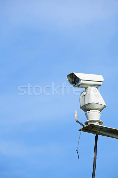 Cctv blauwe hemel televisie technologie stedelijke witte Stockfoto © leungchopan