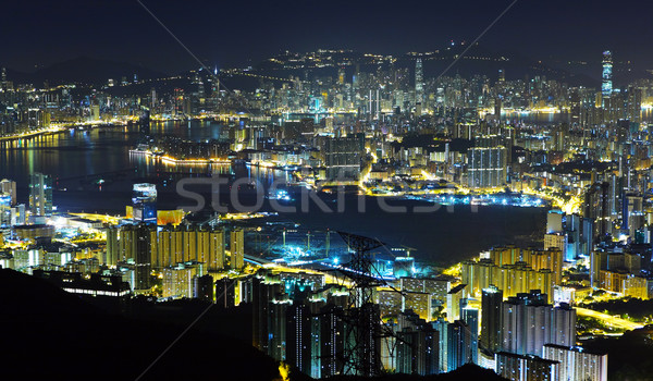night view of Hongkong Stock photo © leungchopan