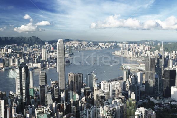Hong Kong city in low saturation Stock photo © leungchopan