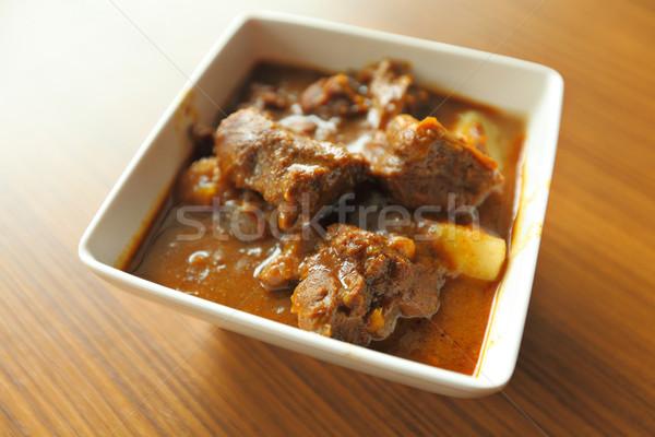Köri hint yemekleri ahşap arka plan pişirme sıcak Stok fotoğraf © leungchopan