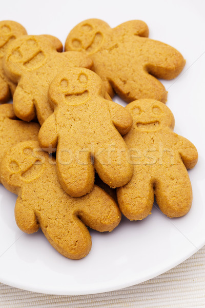 Stock photo: Heap of the gingerbread on plate