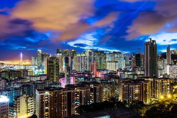 Stock photo: Urban city in Hong Kong at night