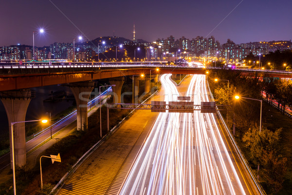 Seul Coréia do Sul noite estrada edifício paisagem Foto stock © leungchopan
