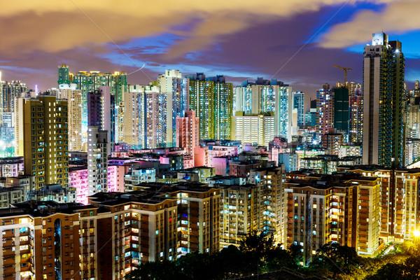 Cityscape in Hong Kong at night Stock photo © leungchopan
