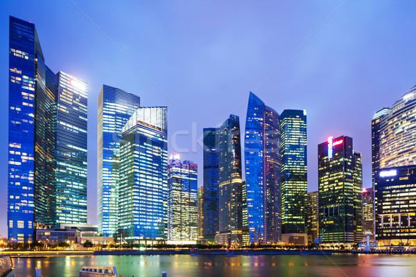 Urbana cityscape Singapore notte ufficio città Foto d'archivio © leungchopan