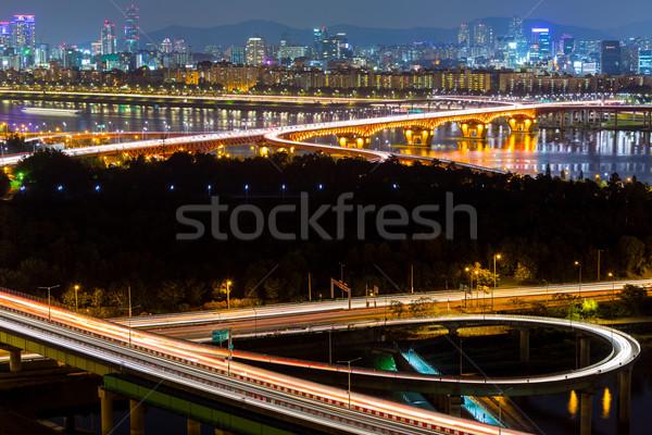Seúl nocturna de la ciudad cielo agua ciudad mar Foto stock © leungchopan