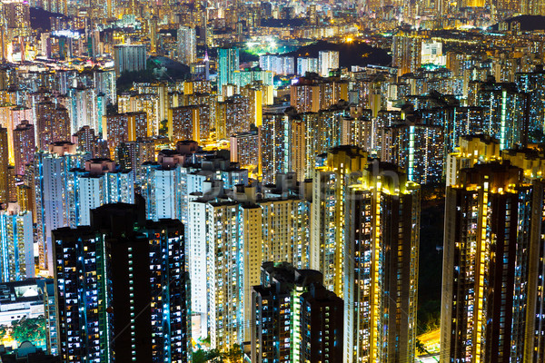 Affollato costruzione Hong Kong cielo ufficio panorama Foto d'archivio © leungchopan