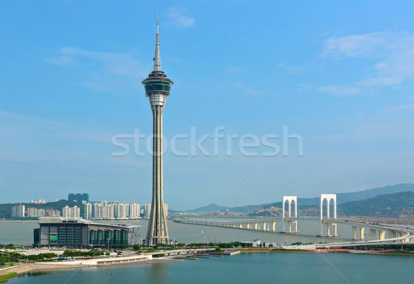 üzlet felhők épület város hold óceán Stock fotó © leungchopan