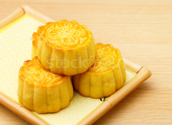 Chinese traditional mooncake on the plate Stock photo © leungchopan