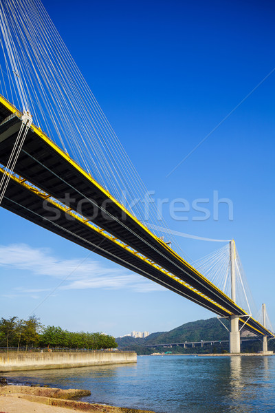 Puente colgante Hong Kong agua calle mar montana Foto stock © leungchopan