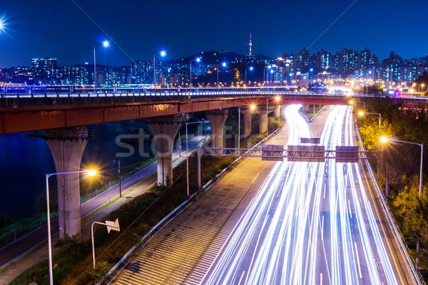 Cityscape in Seoul at night Stock photo © leungchopan