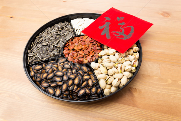 Assorted chinese sytle snack tray and chinese calligraphy, meani Stock photo © leungchopan