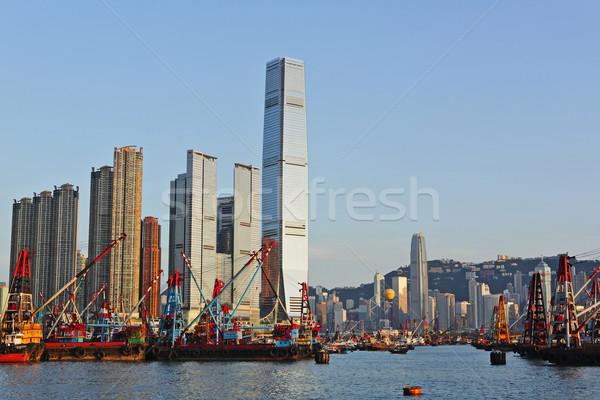 Hong Kong harbour with working ship Stock photo © leungchopan