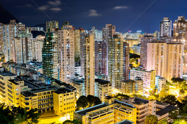 Stok fotoğraf: Hong · Kong · gece · manzara · ışık · kentsel · ufuk · çizgisi