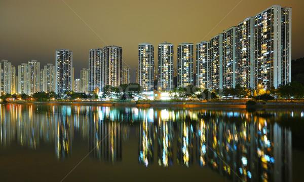 Hong Kong public housing and river Stock photo © leungchopan