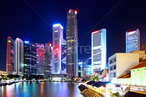 Stok fotoğraf: Singapur · şehir · gece · şehir · deniz · kentsel · ufuk · çizgisi