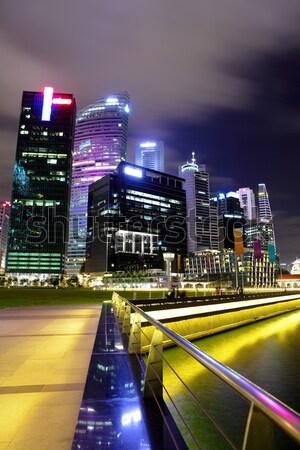 District Hong-Kong nuit Skyline Photo stock © leungchopan