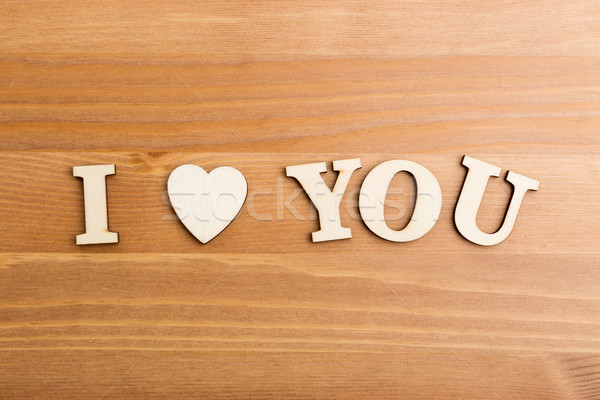 Wooden letters forming with phrase I Love You Stock photo © leungchopan