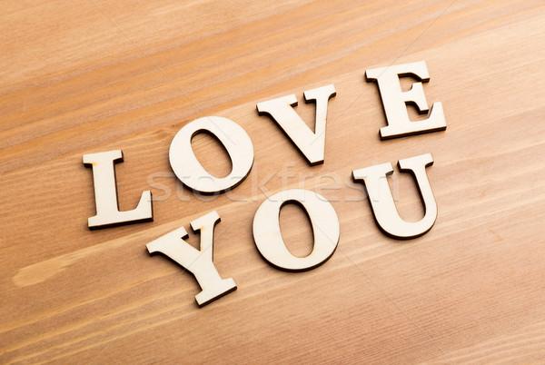 Tekstury litery wyrażenie miłości drewna Zdjęcia stock © leungchopan