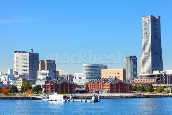Иокогама Cityscape небе здании морем синий Сток-фото © leungchopan