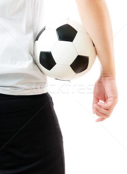 Hátrafelé üzletember tart futballabda üzlet férfi Stock fotó © leungchopan