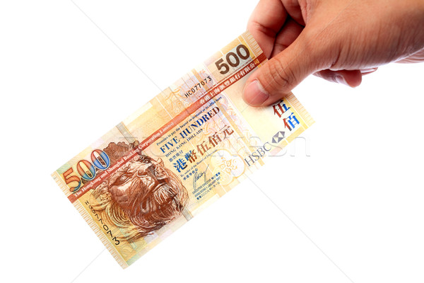 Banknote in hand, Hong Kong $500 banknote Stock photo © leungchopan