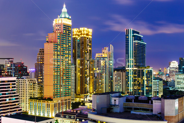 Bangkok ufuk çizgisi gece ofis Bina şehir Stok fotoğraf © leungchopan