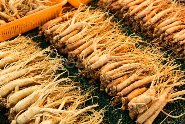 Fresh ginseng in Korean food market Stock photo © leungchopan