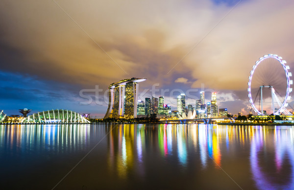 Stockfoto: Singapore · City · Night · kantoor · water · stad · nacht