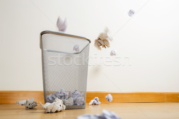 Silver trash bin and crumpled papers Stock photo © leungchopan